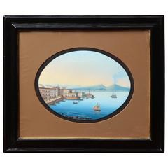 19th Century Gouache of the Bay of Naples in Wooden Frame