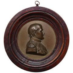 Mid-19th Century Bronze Portrait Plaque of Napoleon in Oak Frame