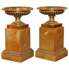 Pair of Mid-Century Sienna Marble and Bronze Tazzas