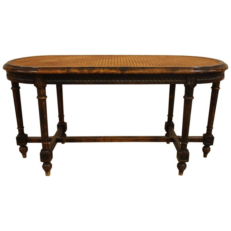 Antique French Louis Xvi Style Cane Bench At 1stdibs