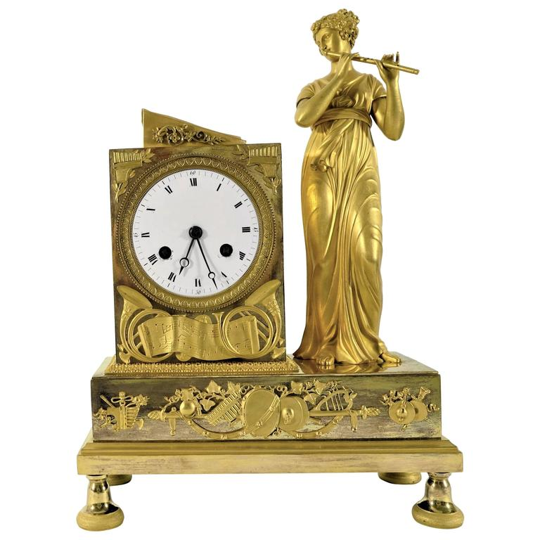 Early 19th Century, French Figural Mantel Clock, Female Flutist
