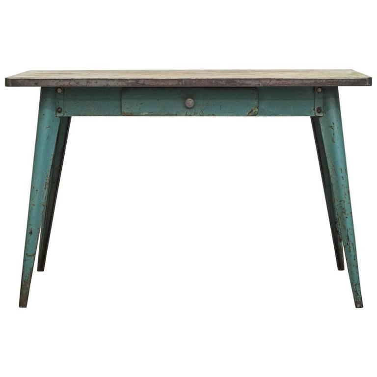 vintage tolix enameled metal table at 1stdibs. Black Bedroom Furniture Sets. Home Design Ideas