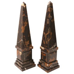 Pair of Neo-Classical Revival Obelisk in Italian Portoro Marble