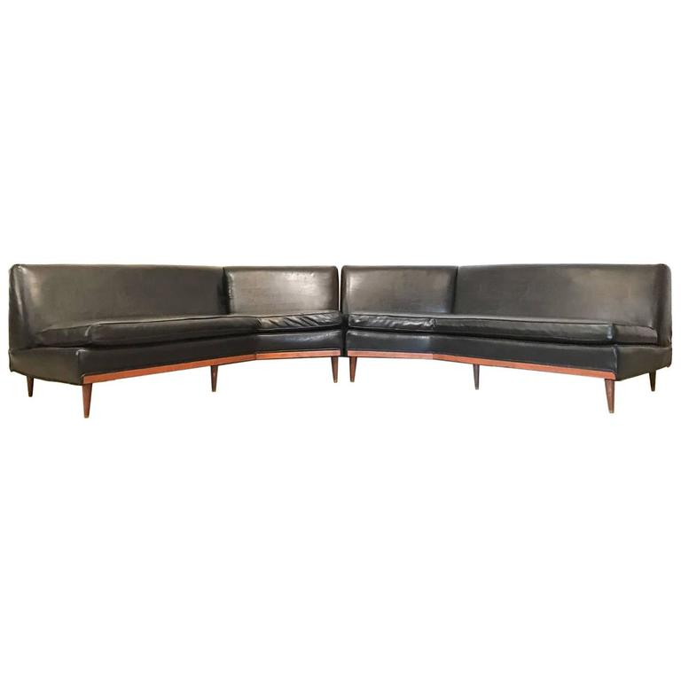 Black mid century modern long and low sofa sectional for for Long couches for sale