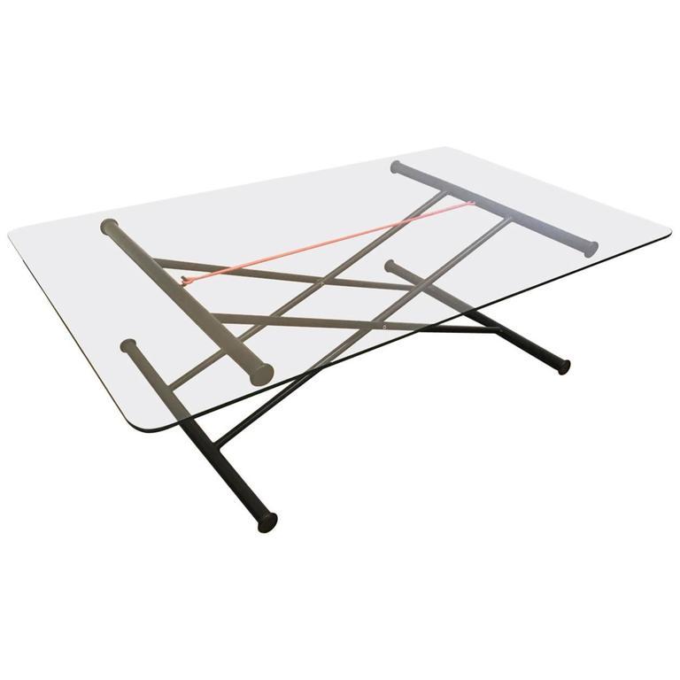 Modern Adjustable Glass and Metal Coffee Table