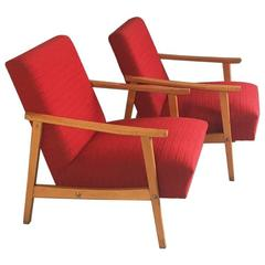 Pair of 1970s Czech Lounge Chairs with Bright Red Original Upholstery and Beech