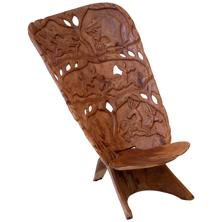 African Duguot Throne Chief Chair Carved Sculpted Animals Free Shipping For  Sale At 1stdibs