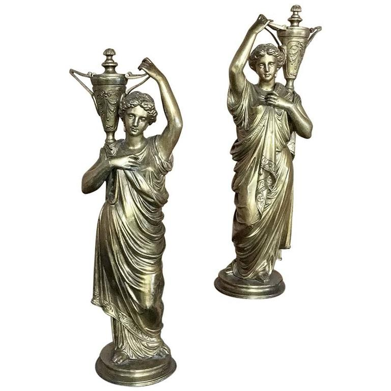 Pair of 19th Century French Neoclassical Caryatid Bronze Statues