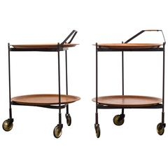 Mid-Century Rolling Cart with Removable Teak Trays