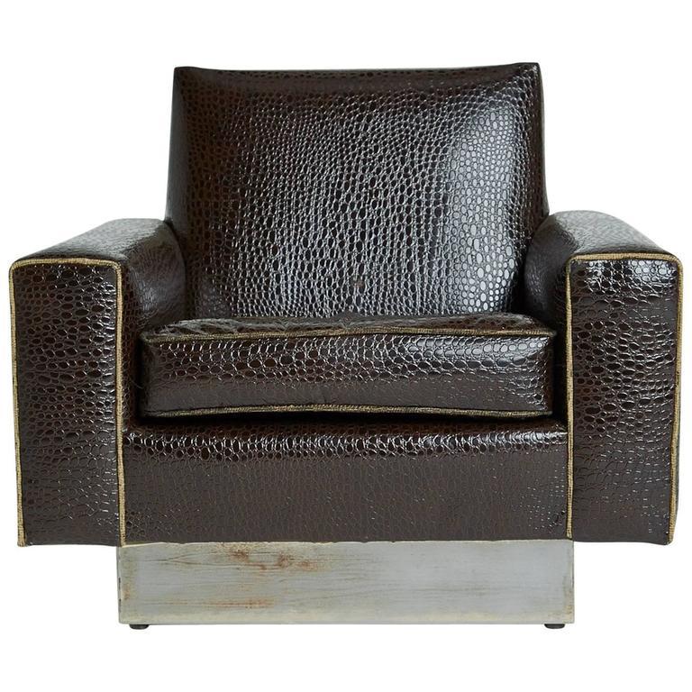 Modern Floating Cube Lounge Chair on Metal Plinth Base, circa 1970