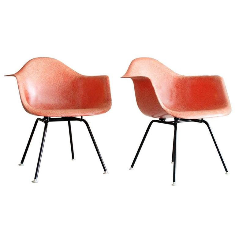 Iconic Pair of Early Eames Fiberglass Bucket Chairs in Salmon at 1stdibs