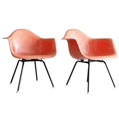 Iconic Pair of Early Eames Fiberglass Bucket Chairs in Salmon