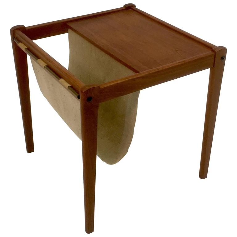 Teak Side Table With Magazine Holder By Furbo For