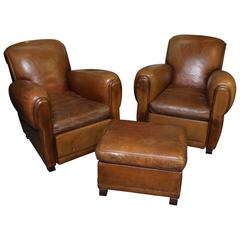 French Art Deco Leather Chairs with Ottoman