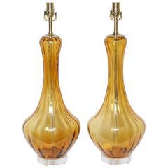 "Pair of Vintage Murano ""Petticoat"" Lamps"