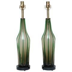 Superb Pair of Tall Mid-Century Murano Lamps