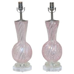 Pair of Barovier & Toso Murano Lamps