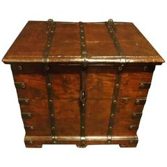 Early C19th Small Size Iron Bound Teak Box Coffer