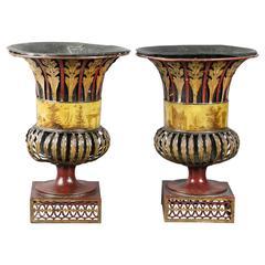 Pair of Regency Tole Urns