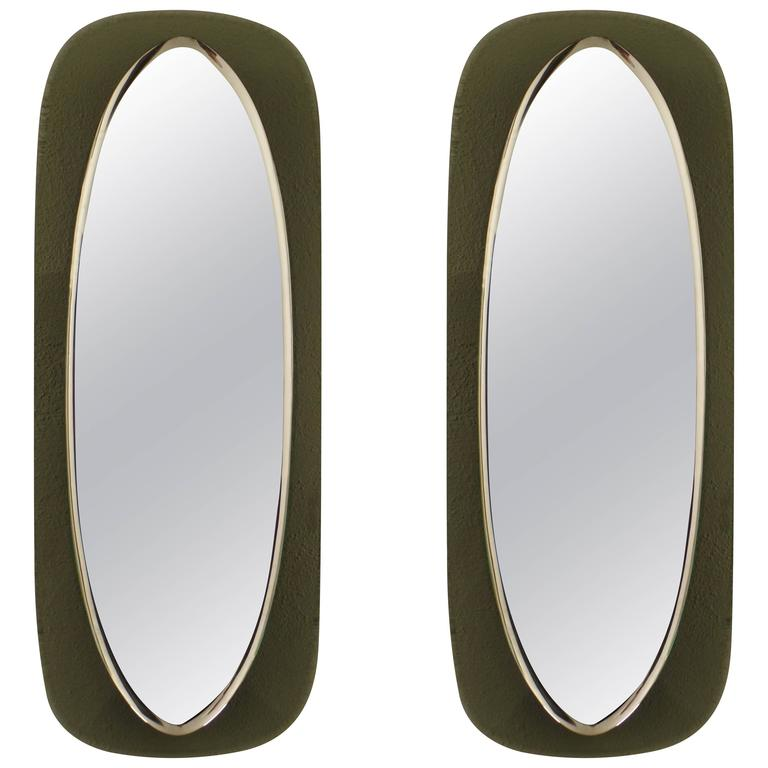 Pair Italian Mid-Century Shield Form Mirror w. Murano Glass Frames, Max Ingrand