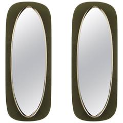 Pair of Italian Shield Form Mirrors with Murano Glass Frames, Max Ingrand