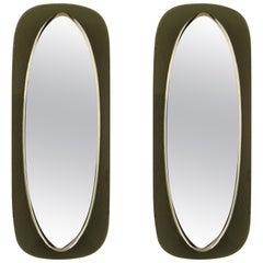 Pair Italian Mid-Century Shield Form Mirror w. Murano Glass Frames, Max Ingrand