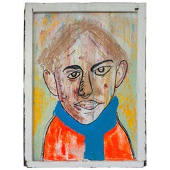 """Modern Contemporary Painting of a Man in a Blue Scarf """" Blur"""""""