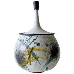 Edna Arnow Illinois Modern Abstract Expressionist Stoneware Lidded Vessel