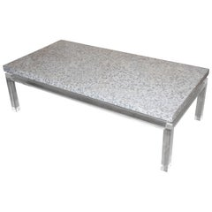 Lucite Mother of Pearl Coffee Table