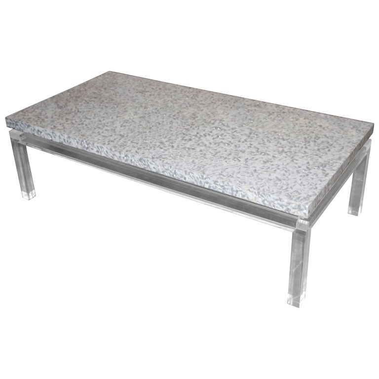 Lucite Mother of Pearl Coffee Table  For Sale