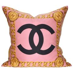 Large Vintage Rose Pink Chanel Silk Scarf and Irish Linen Cushion Pillow