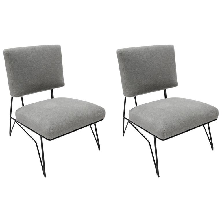 Pair Of Custom 1960s Style Metal Chairs In Gray Alpaca For
