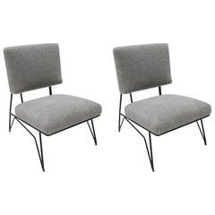 Pair of Custom 1960s Style Metal Chairs in Gray Alpaca