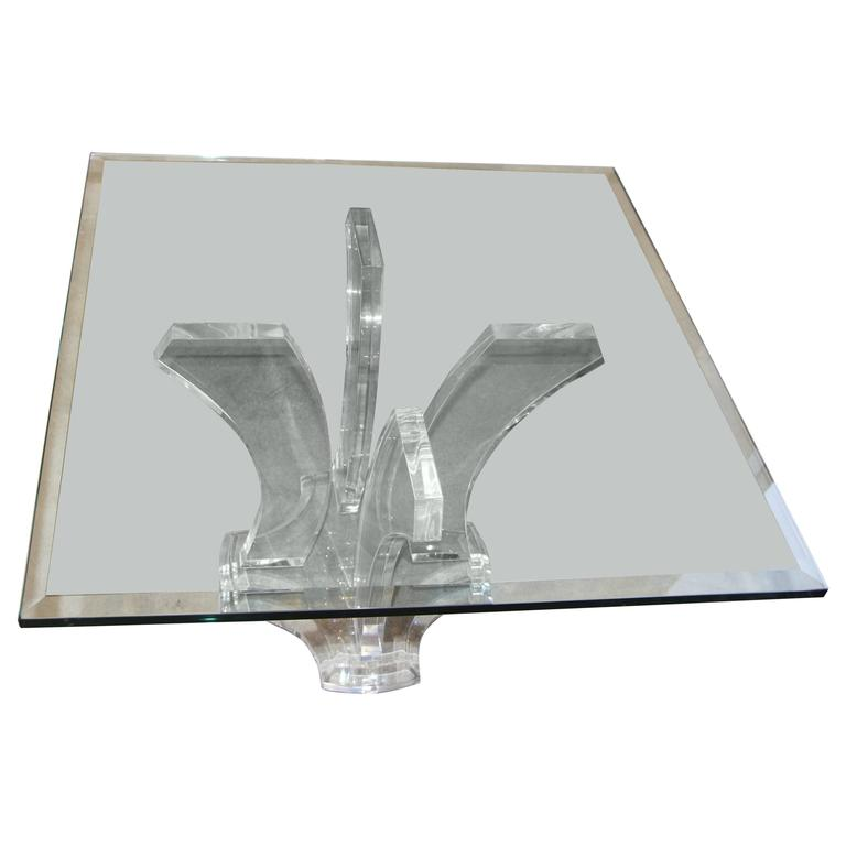 Jeffrey Bigelow Lucite and Glass Coffee Table