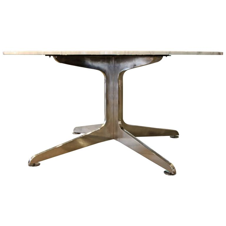 unusual solid aluminium base table with a carrara marble top for sale at 1stdibs. Black Bedroom Furniture Sets. Home Design Ideas