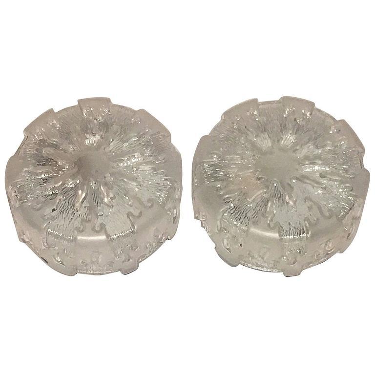 Pair of Ice Glass Flush Mount Honsel Leuchten, Germany
