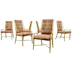 Six Hollywood Regency Brass Faux Bamboo Dining Chairs by Mastercraft, 1970s