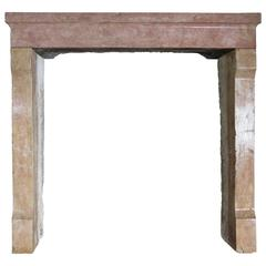 Original Contemporary French Antique Fireplace in Marble-Stone, Paris, 1800s