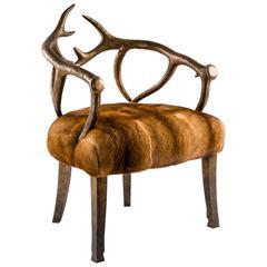 Deer Bronze and Fur Armchair Golden Mink Upholstery