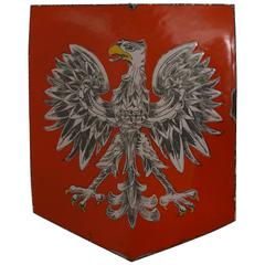 Mid to Early 20th Century Enameled Coat of Arms / Crest of White Eagle of Poland