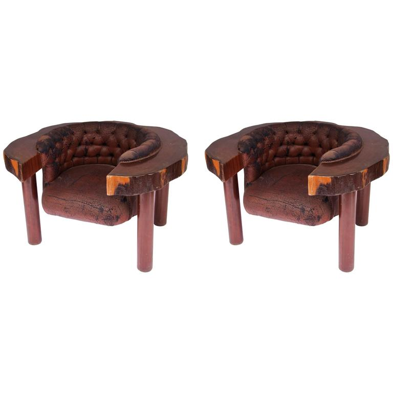 1960s Brutalist Mahogany and Faux Leather Pair of Armchairs