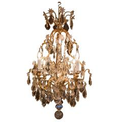 French Louis XV Style, Gilt Bronze and Crystal Chandelier Sign by Baccarat