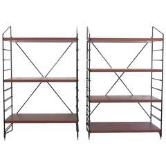 Pair of Italian Shelves Made of Black Painted Metal and Teak