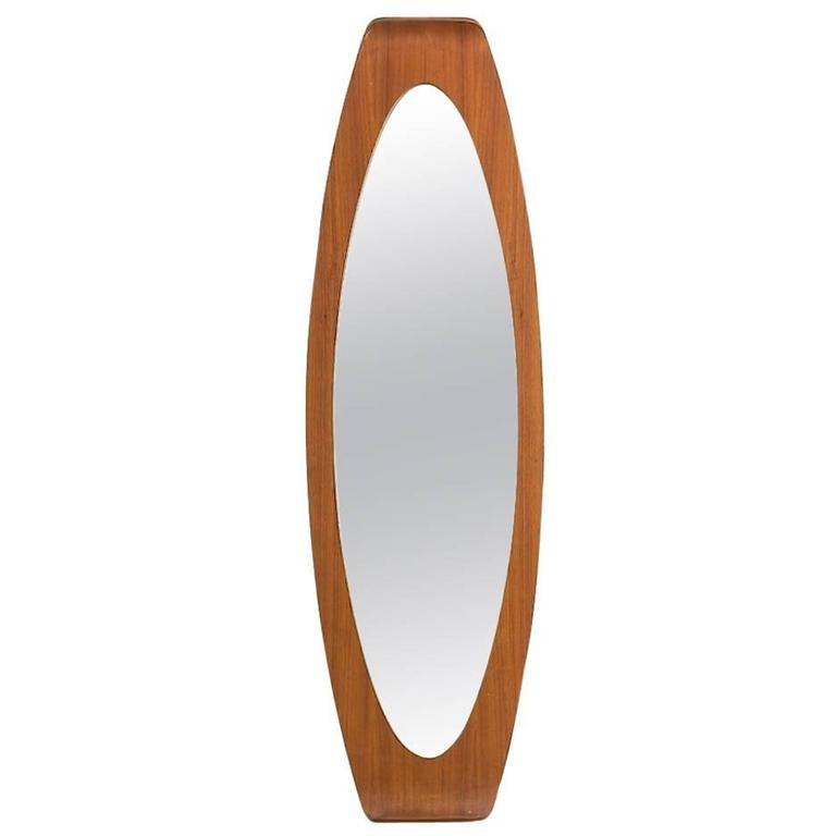 Italian Oval Plywood Mirror by Campo & Graffi