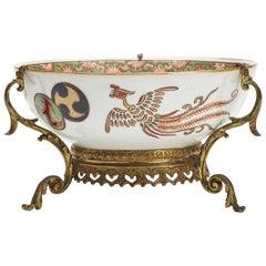 Japanese Arita Meiji Ormolu Mounted Porcelain Bowl 19th Century