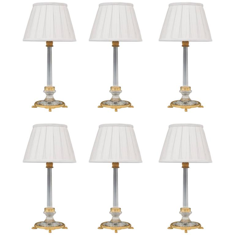 Set of Six Ormolu-Mounted and Cut Glass Lamps