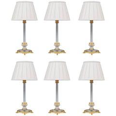Set of Six Ormolu-Mounted and Cut Glass Lamps