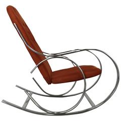 Classic Mid-Century Chrome and Fabric Rocking Chair, Milo Baughman
