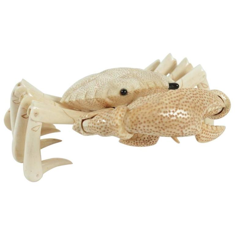 Crab Sculpture in Bone For Sale