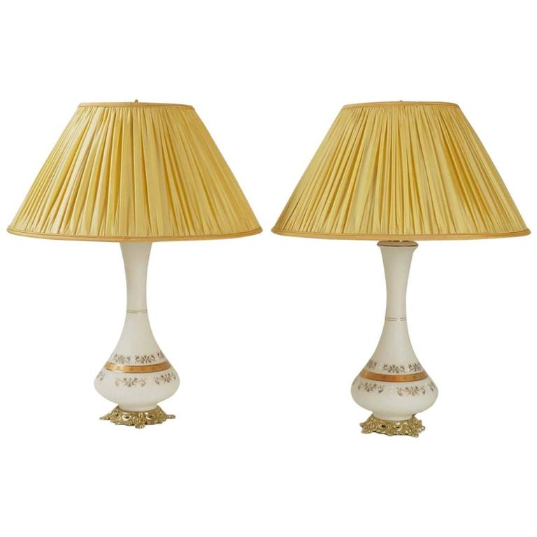 Pair of Opaline Lamps from the 19th Century